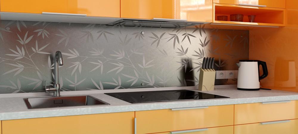Металлический кухонный фартук с узором